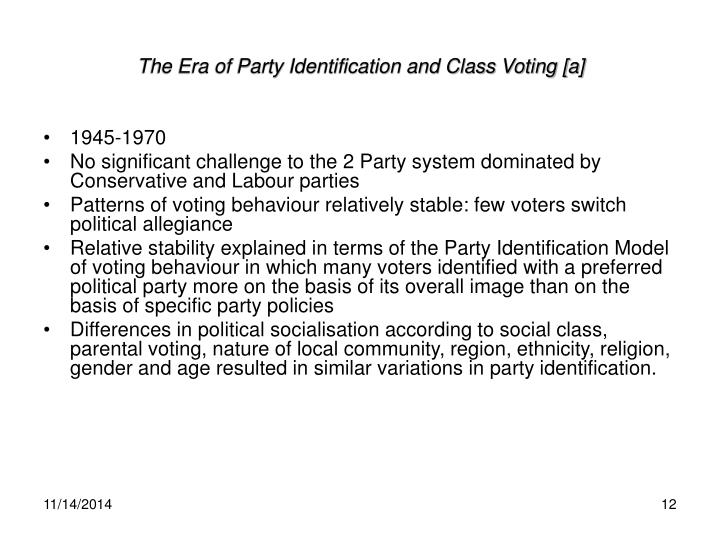 The Era of Party Identification and Class Voting [a]