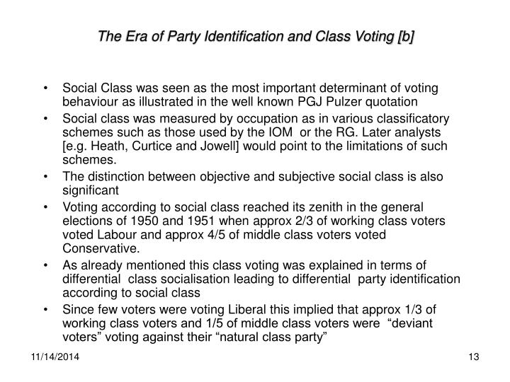 The Era of Party Identification and Class Voting [b]