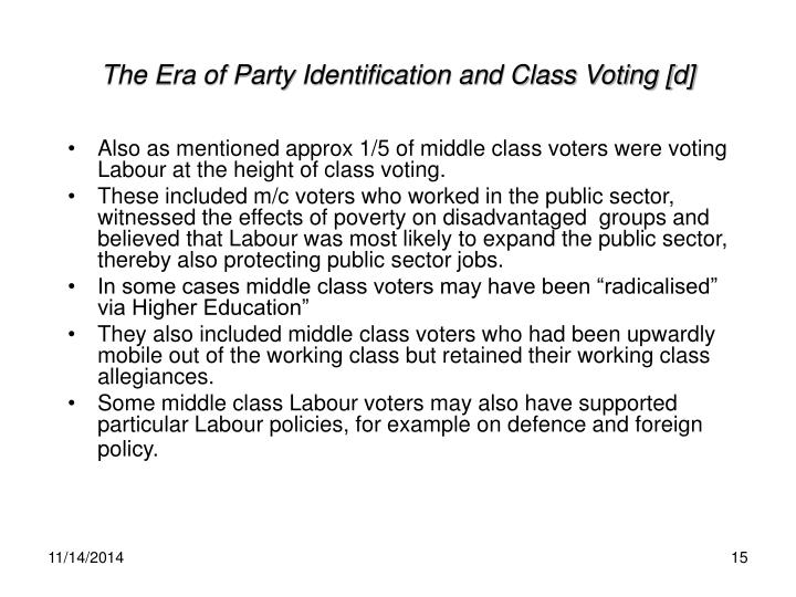 The Era of Party Identification and Class Voting [d]