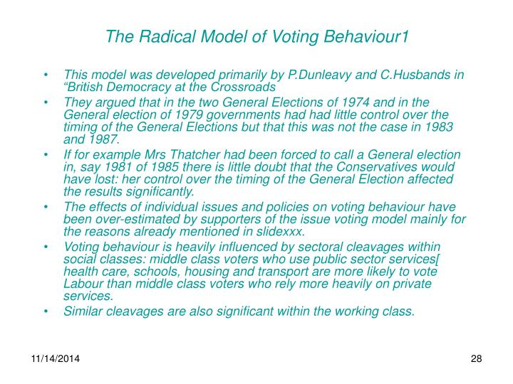 The Radical Model of Voting Behaviour1