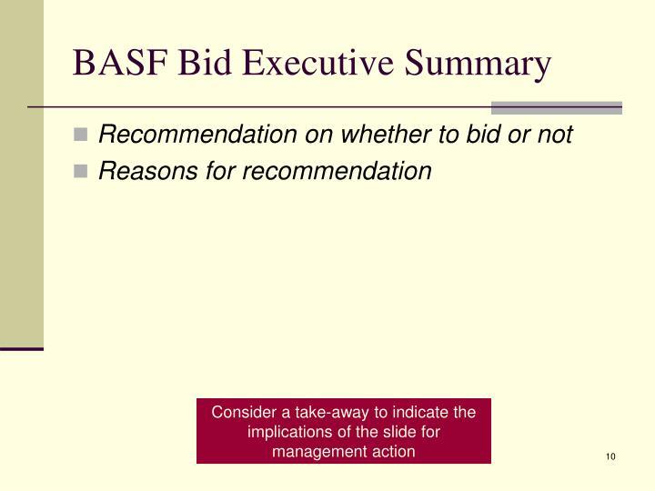 BASF Bid Executive Summary
