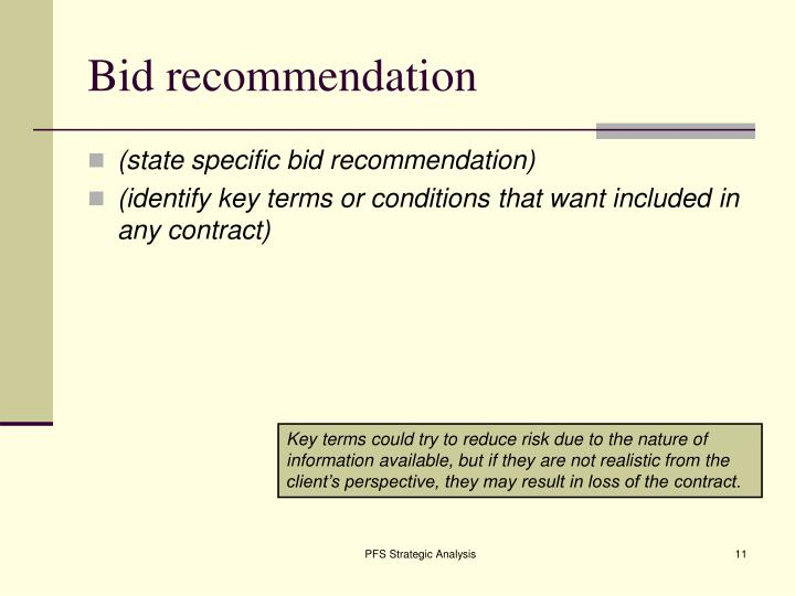Bid recommendation