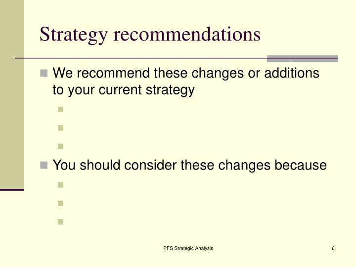Strategy recommendations