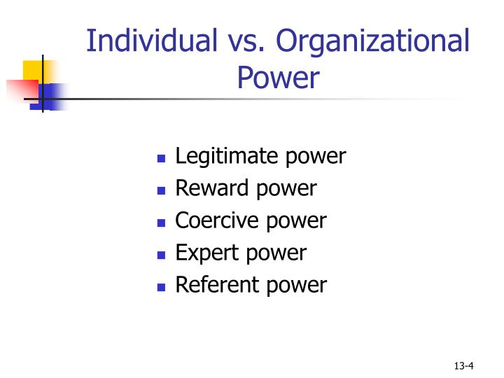 Individual vs. Organizational Power