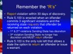 remember the r s