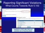 reporting significant violations what counts towards rule 5 103