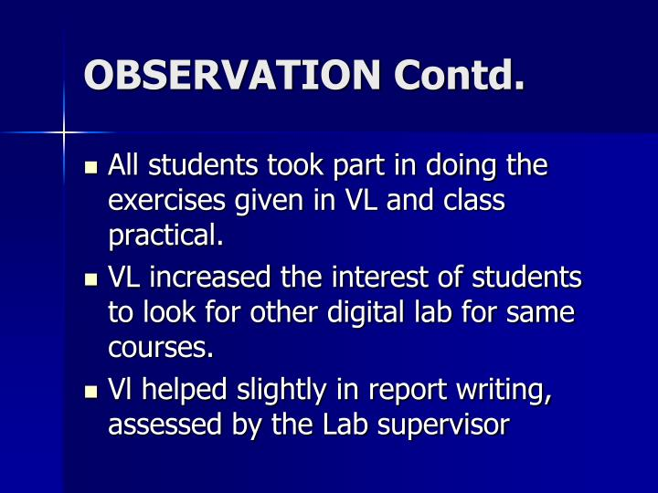 OBSERVATION Contd.