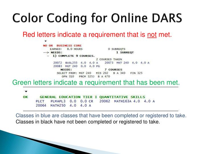 Color Coding for Online DARS