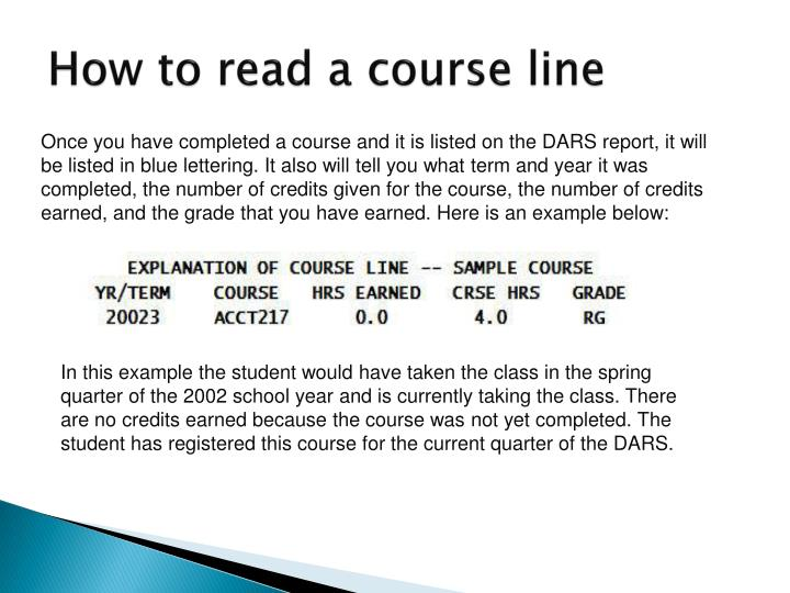 How to read a course line