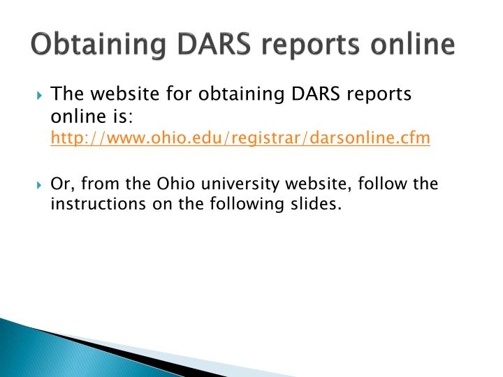 Obtaining DARS reports online