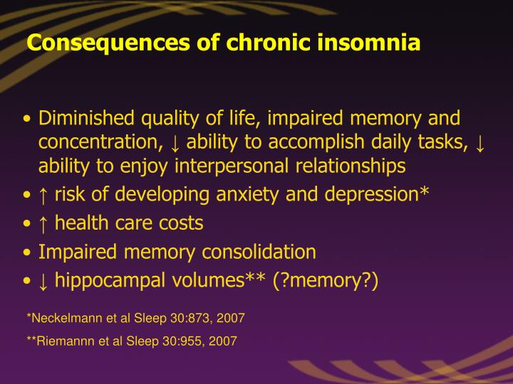 Consequences of chronic insomnia