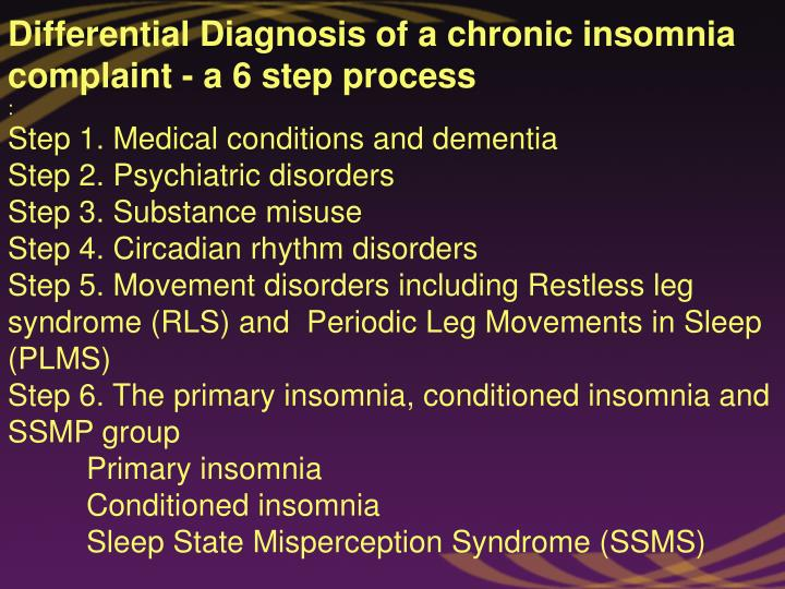 Differential Diagnosis of a chronic insomnia complaint - a 6 step process