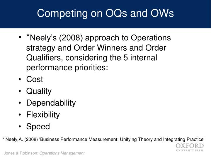 Competing on OQs and OWs