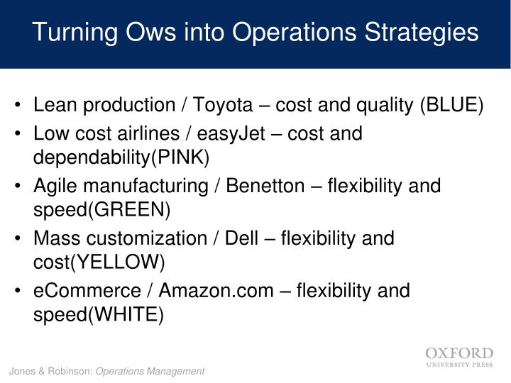 Turning Ows into Operations Strategies