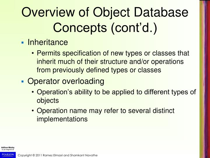 Overview of Object Database Concepts (cont'd.)