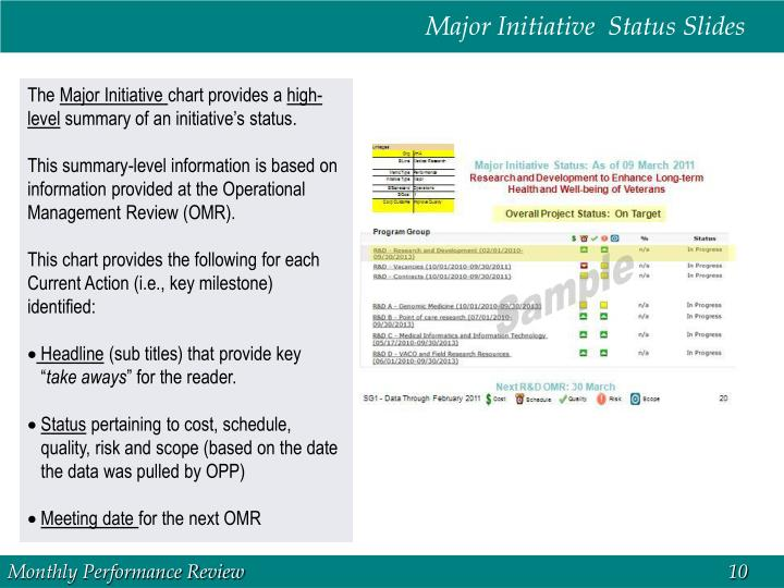 Major Initiative  Status Slides