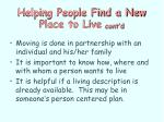 helping people find a new place to live cont d