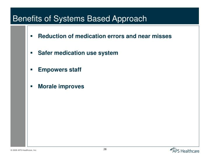 Benefits of Systems Based Approach