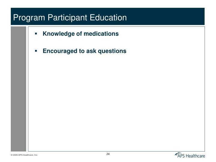 Program Participant Education