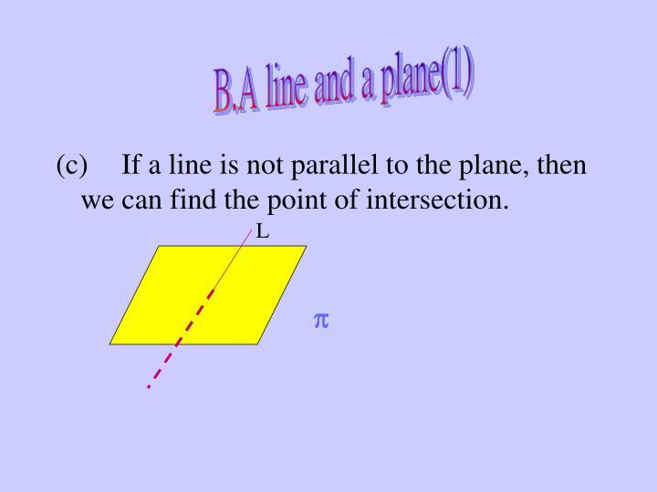 B.A line and a plane(1)
