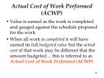 actual cost of work performed acwp