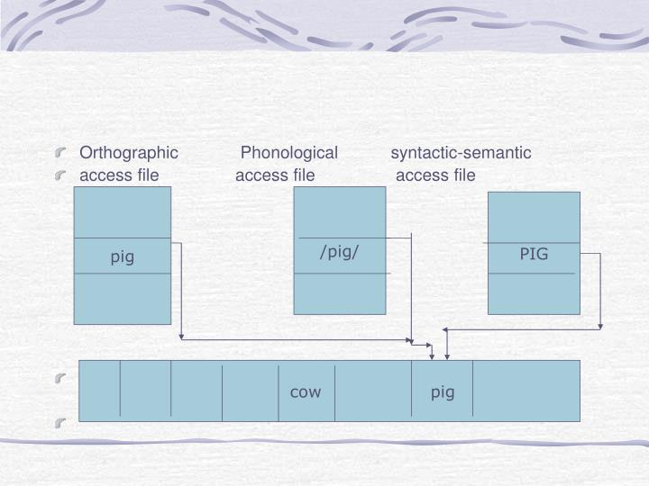Orthographic             Phonological           syntactic-semantic