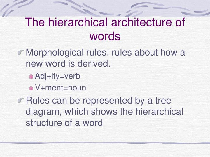 The hierarchical architecture of words