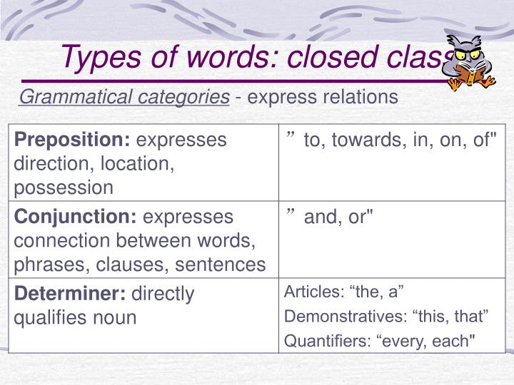 Types of words: closed class