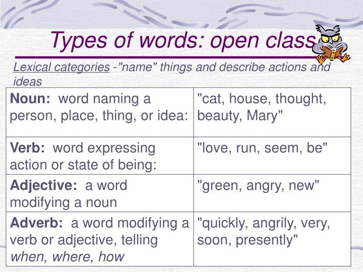 Types of words: open class