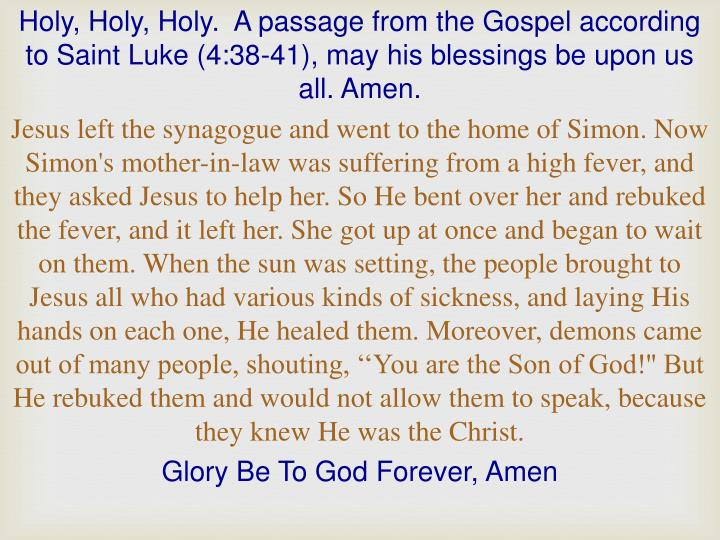 Holy, Holy, Holy.  A passage from the Gospel according to Saint Luke (4:38-41), may his blessings be upon us all. Amen.
