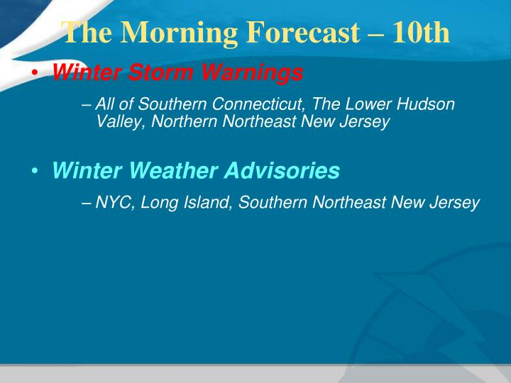 The Morning Forecast – 10th
