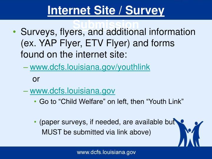 Internet Site / Survey Submission
