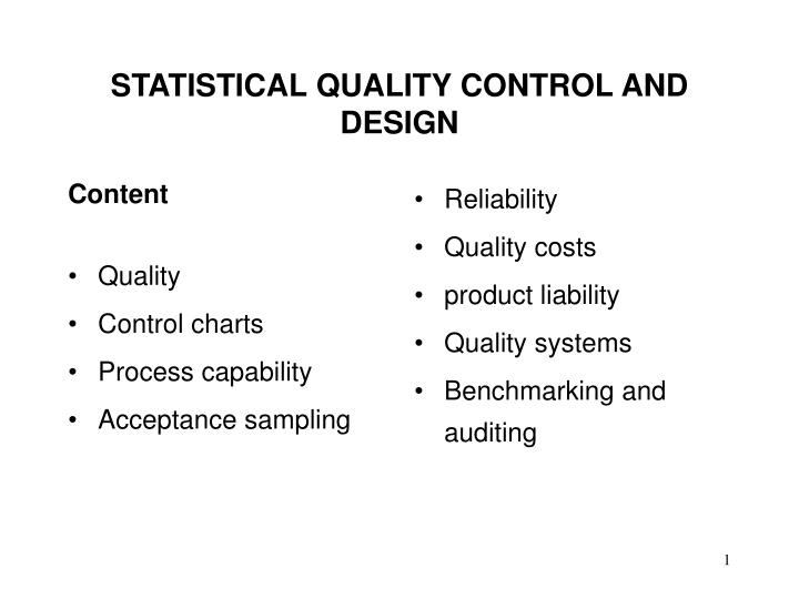 statistical quality control and design n.