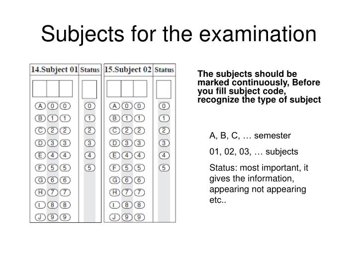 The subjects should be marked continuously, Before you fill subject code, recognize the type of subject