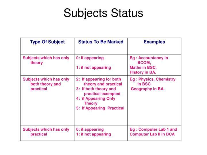 Subjects Status