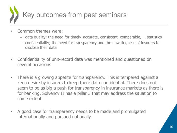 Key outcomes from past seminars