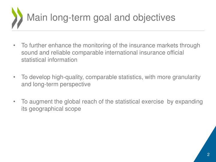 Main long term goal and objectives