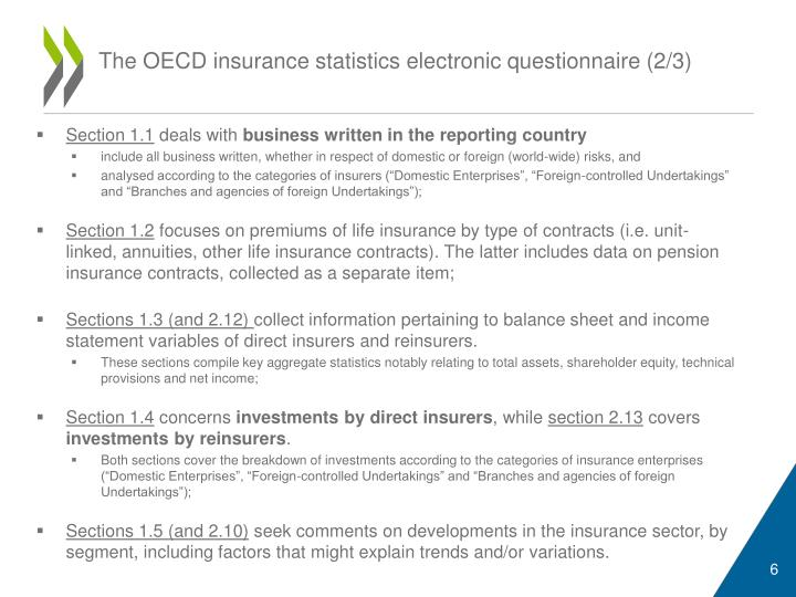 The OECD insurance statistics electronic questionnaire (2/3)