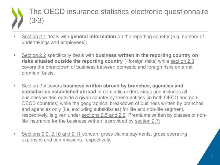 The OECD insurance statistics electronic questionnaire (3/3)