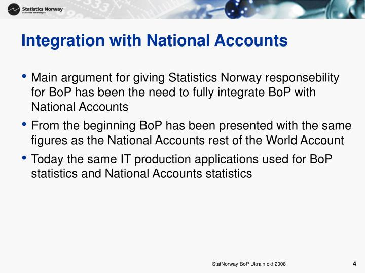 Integration with National Accounts