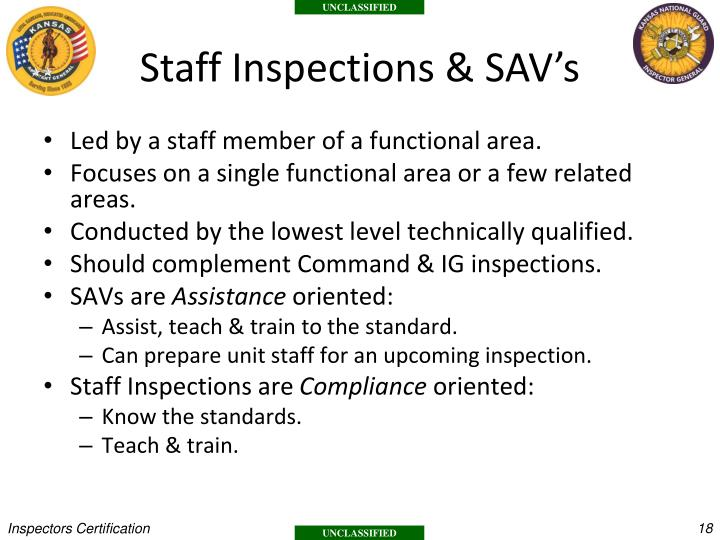 Staff Inspections & SAV's