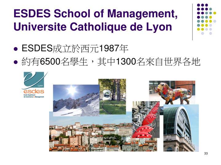 ESDES School of Management, Universite Catholique de Lyon