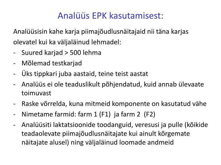 Analüüs EPK kasutamisest: