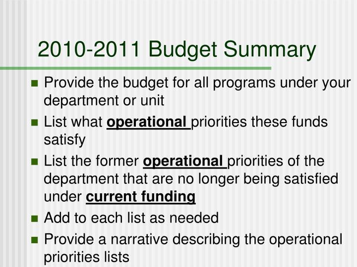 2010-2011 Budget Summary