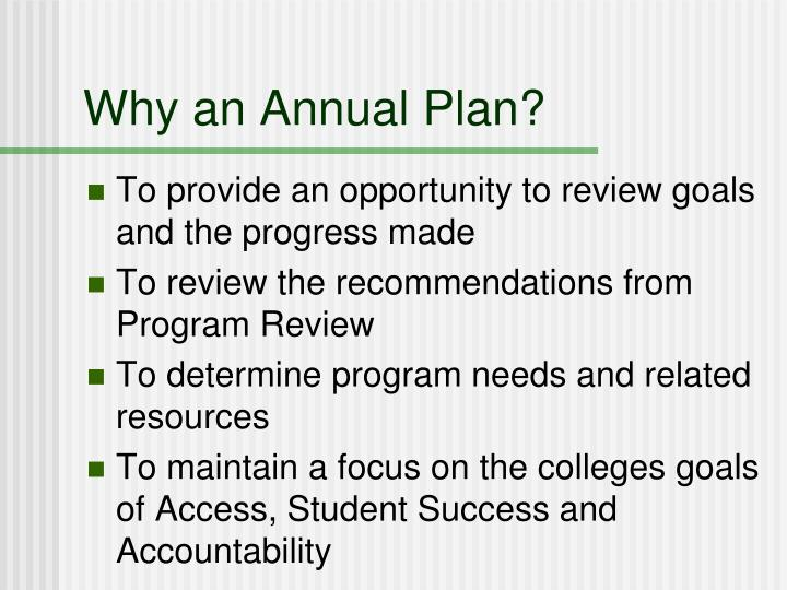 Why an annual plan
