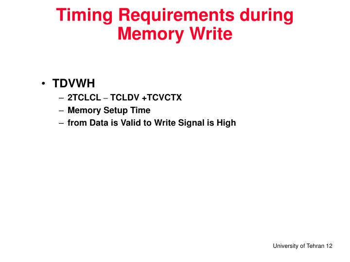 Timing Requirements during Memory Write