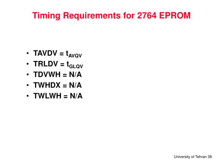 Timing Requirements for 2764 EPROM