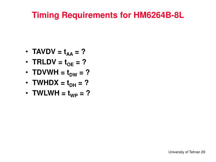 Timing Requirements for HM6264B-8L