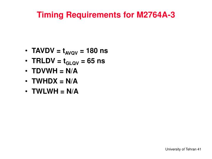 Timing Requirements for M2764A-3