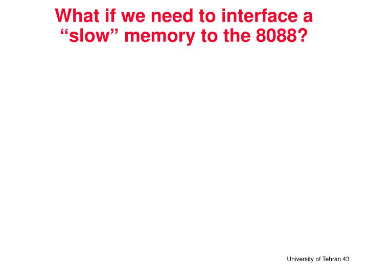 "What if we need to interface a ""slow"" memory to the 8088?"